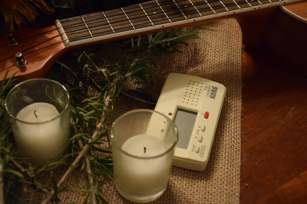 christmas guitar with candles