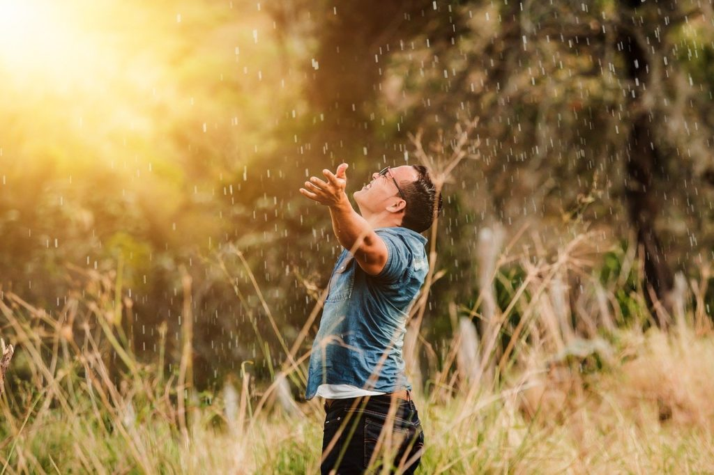 Man with open arms worshipping